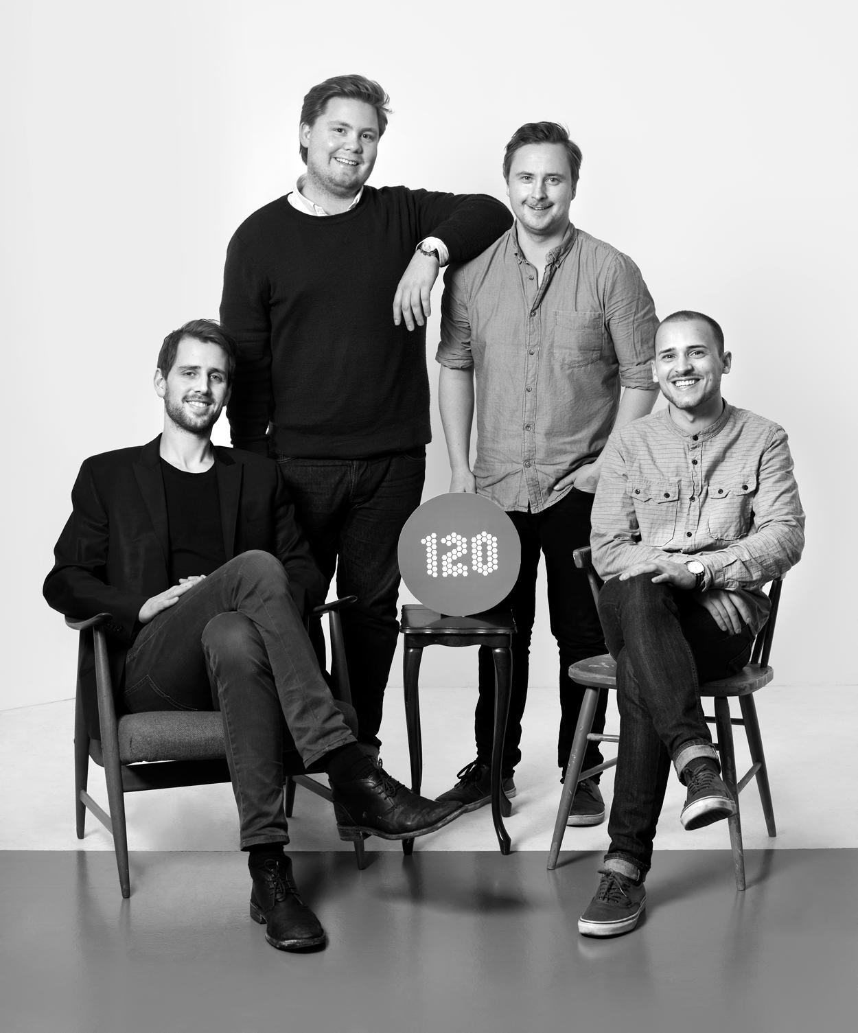 """""""120hours"""" initiativtakere f.v.: Hans Martin Halleraker,  Scott Olav Allan, Peder Brand og Magnus Asker Petersen."""