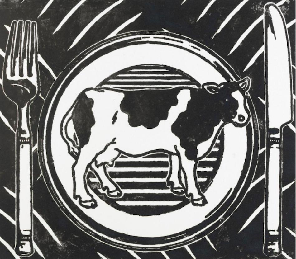 Ola Jonsrud, «Eating Pattern», 2010. Tresnitt, 350 x 400 mm. Nasjonalmuseet. © Ola Jonsrud 2015 - See more at: http://www.nasjonalmuseet.no/no/utstillinger_og_aktiviteter/utstillinger/nasjonalgalleriet/Avtrykk.+Tresnitt+fra+fem+%C3%A5rhundrer.b7C_wlfI0h.ips#sthash.60OorNip.dpuf